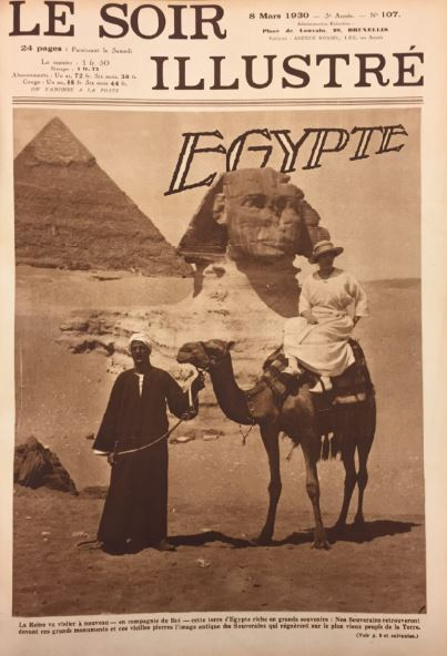 Queen Elisabeth in the shadow of the Great Pyramids. © Le Soir Illustré, 8 Mar 1930